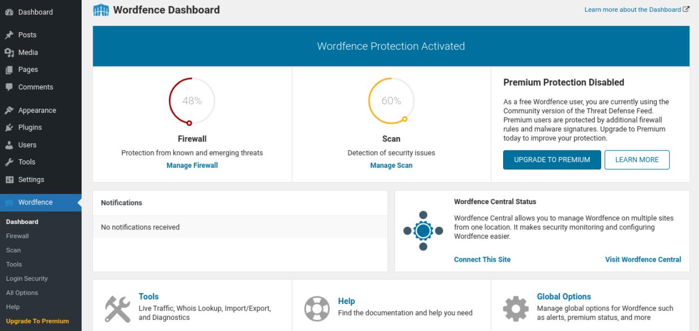The Wordfence plugin dashboard.