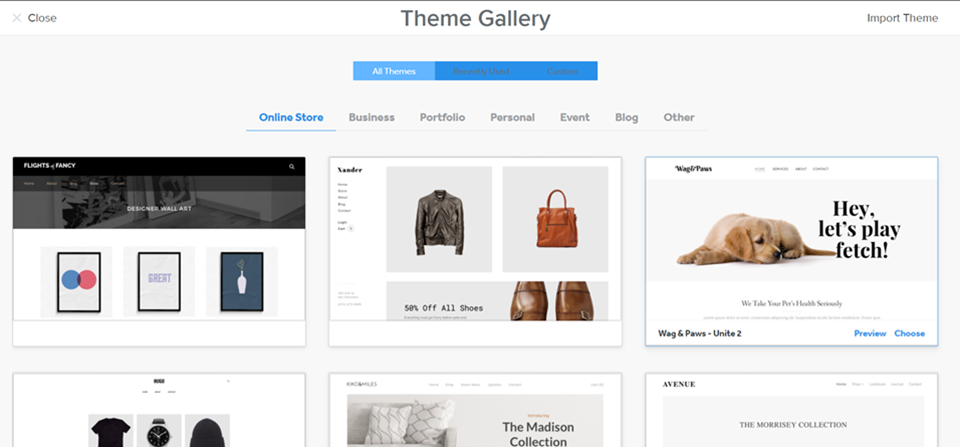 weebly theme gallery