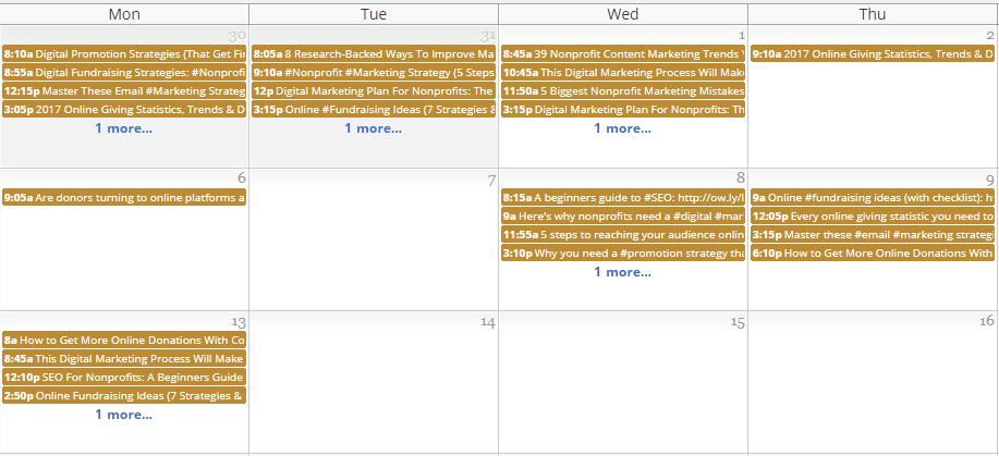 HootSuite Calendar - Social Media Marketing For Nonprofits