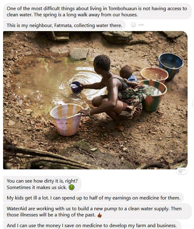 Water Aid Facebook Messenger Chat Bot _ Social Media Marketing For Nonprofits