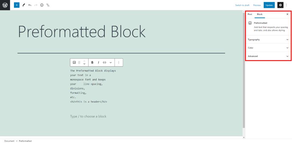Preformatted Block Settings