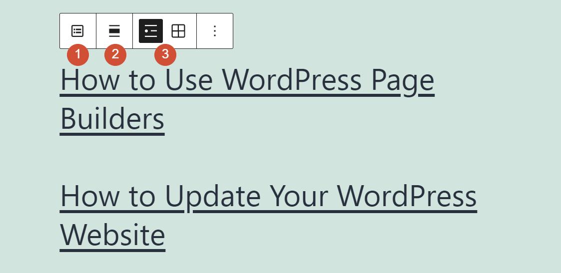 The latest posts block toolbar